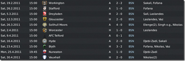 The last matches of Boston United in the 1st season