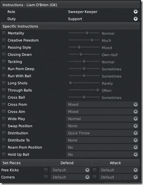 Goalkeeper instructions in FM 2011 tactics