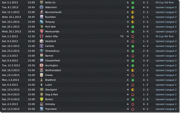 League 2 fixtures, FM 2011