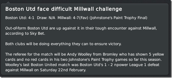Boston United - Millwall, JPT final in FM 2011