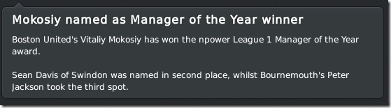Manager of the Year winner, FM 2011
