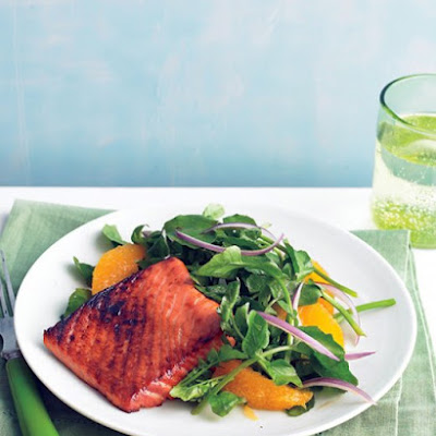 Soy-Glazed Salmon with Watercress Salad