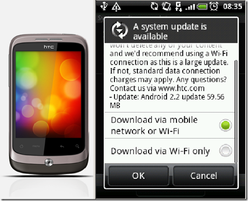 HTC Wildfire update notification