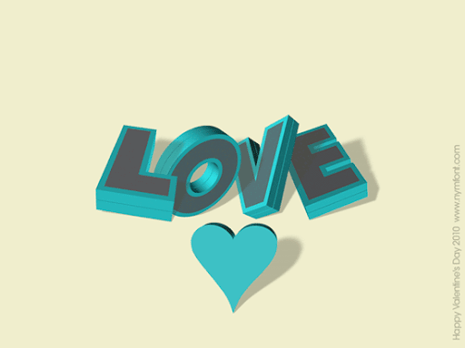 Love Three Dimensional Text Wallpaper