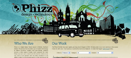 Phizz - Inspiring cityscape in web design example