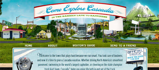 Visit Cascadia - Inspiring cityscape in web design example