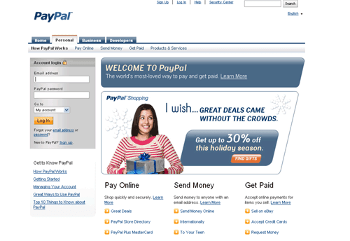 Fonts In Use: PayPal