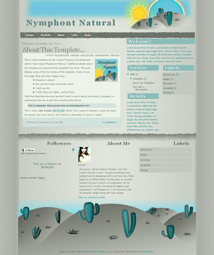 Free Blogger Template: Nymphont Natural Screencap