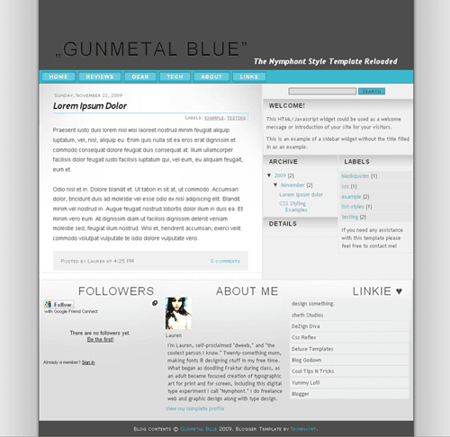 Free Blogger Template: Gunmetal Blue