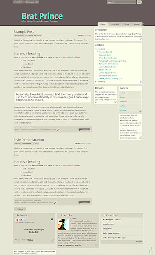 Brat Prince Blogger Template Screencap