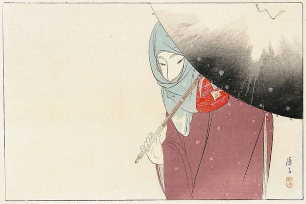 Eisen Tomioka 1864-1905 snowy umbrella