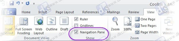 word 2010 view navigation pane