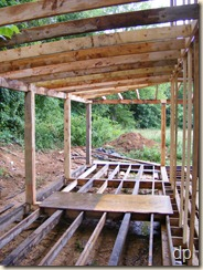 the back porch with rafters intalled