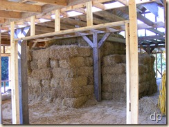 bales stacked in the house
