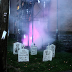 Spooky outdoor graveyard decorations for the Collinsville Halloween party