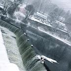 Cold falls on the Farmington River Reservoir