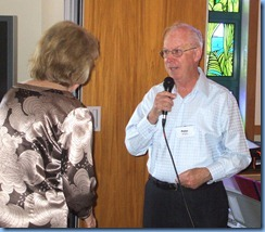 Peter Brophy talking with the Craft & Care Supervisor, Daphne Markwick