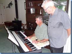 Michael Bramley playing the Korg SP250 keyboard