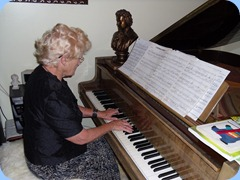 Ngaire McRae in her element on Peter Littlejohn's lovely grand piano