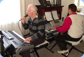 Peter Jackson trying out the vocal harmonizer on the latest Korg Pa3X keyboard with Peter Littlejohn accompanying on a Technics KN-6500