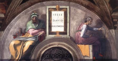Kristus senči: Jese, Dāvids, Salamans, Mikelandželo Buonaroti (1511–1512), Siksta kapelas (Vatikāns) griestu gleznojums