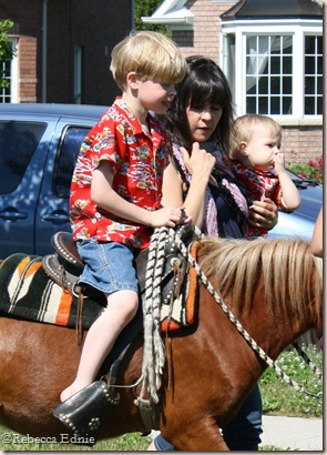sarah with boys pony
