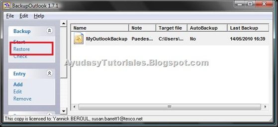 BackupOutlook - Restore Backup Entry - AyudasyTutoriales