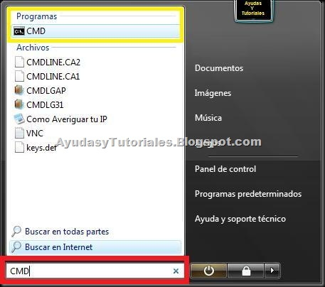 CMD - Windows Vista - AyudasyTutoriales