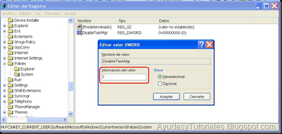 Editor de Registro - Valor DWORD - AyudasyTutoriales