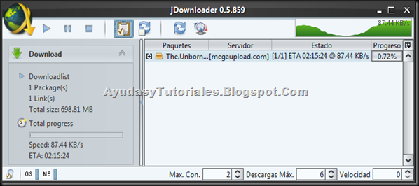 JDownloader DownloadPanel - AyudasyTutoriales