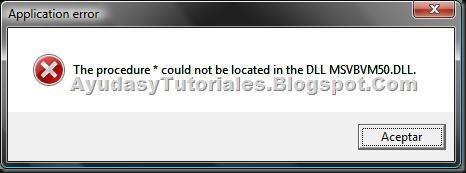 DLL msvbvm50 - Error Vista