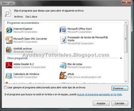 Windows VISTA - Elegir el Programa para Abrir el Archivo - WinRar - AyudasyTutoriales