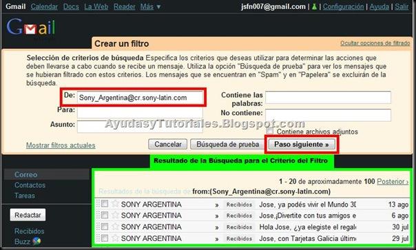 Gmail - Creando un Filtro - AyudasyTutoriales