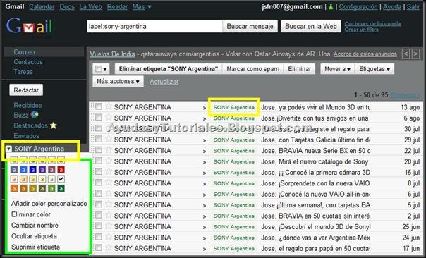 Gmail - Personalizar Etiqueta - AyudasyTutoriales