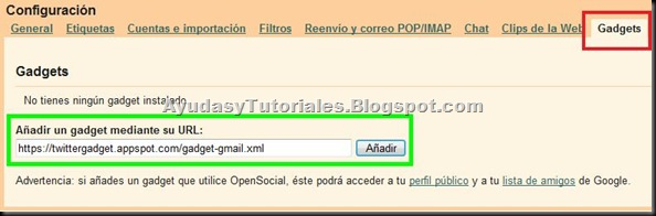 Añadir Gadget mediante URL - Twitter - AyudasyTutoriales