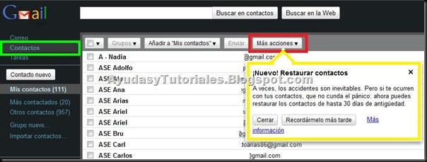 Gmail - Restaurar Contactos