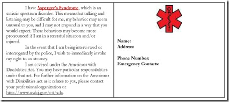 Autism Alert Card - Blank copy