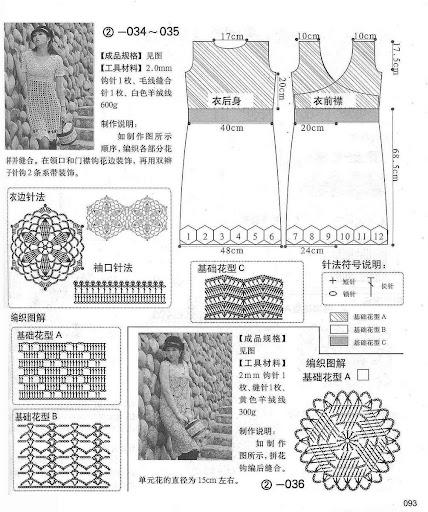 فساتين كروشية  يابانية مع البترون فستان كروشية ياباني مع البترون أزياء كروشية