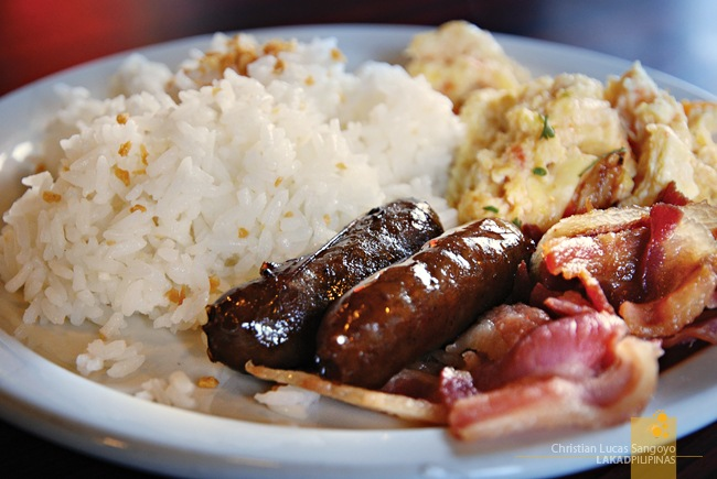 Fried Rice, Longanisa, Bacon and Scrambled Eggs at Grills & Sizzles