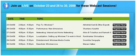 windows 7 webcast
