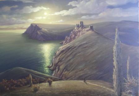 Море горы восход пейзаж холст масло