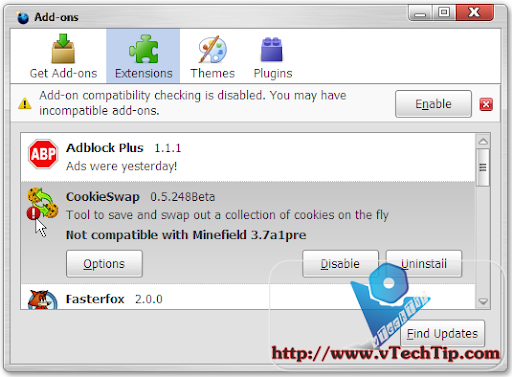 how to enable add ons in firefox