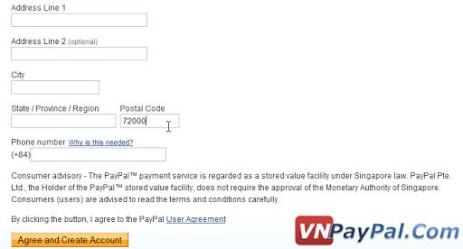 Thông tin điền vào tài khoản PayPal