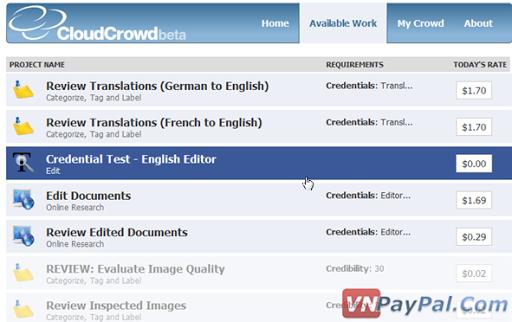 CloudCrowd, Kiếm Tiền Từ Làm Việc Trên FaceBook
