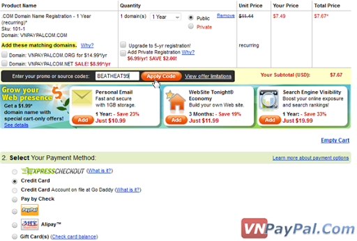 Hướng Dẫn Thanh Toán Trực Tuyến Với Thẻ VISA và PayPal