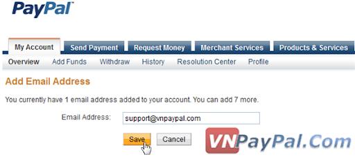 Thêm eMail và Tạo Thêm Tài Khoản PayPal Phụ