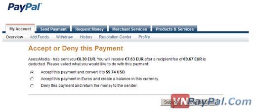 Gửi, Chuyển/Nhận Tiền Trong PayPal và Cách Tính Phí Giao Dịch