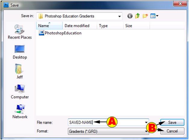 Save Gradient Dialog Box