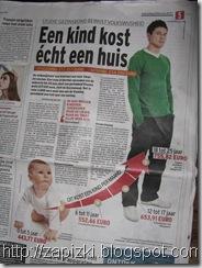 "Статья ""Ребенок стоит как дом"" в газете Het Laatste Nieuws за 24/02/2010."