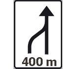 """Знак """"Конец полосы через 400 м."""""""
